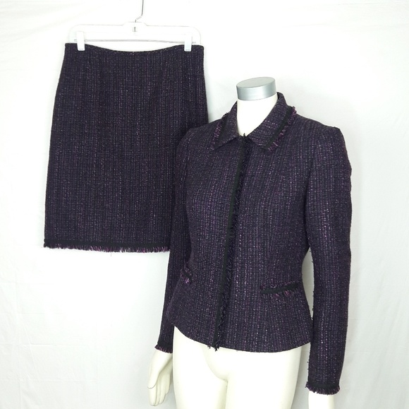 b31e17cac8bdc Tahari Skirts | Asl Fringe Trim Tweed Skirt Suit | Poshmark